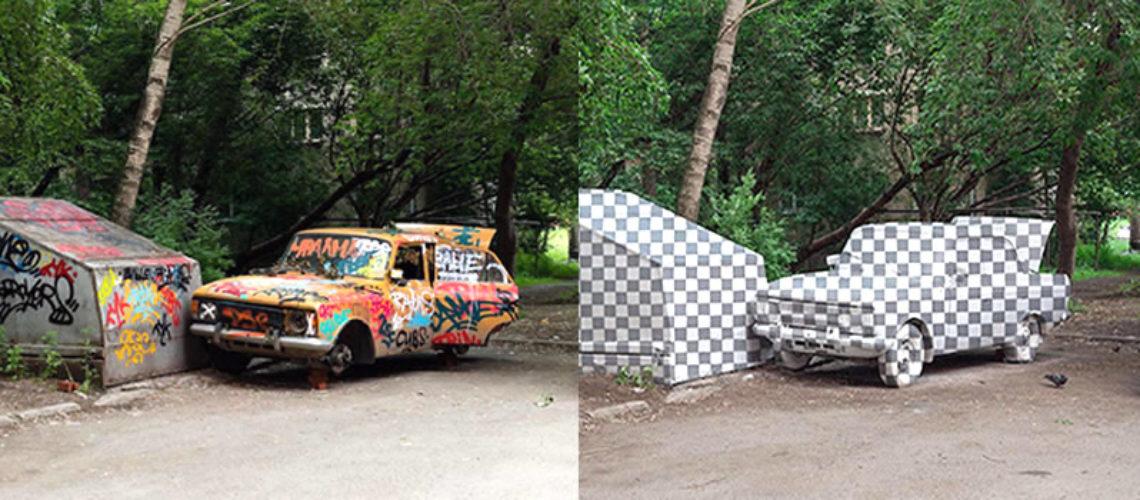 Artistas urbanos 'borran' chatarra con Photoshop en la vida real